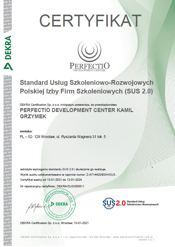 Certyfikat SUS 2.0 Perfectio Development Center